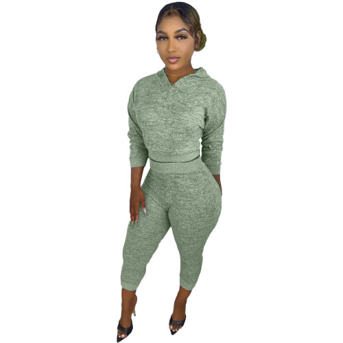 Light green Hooded knitted sweater two-piece elastic waist trousers