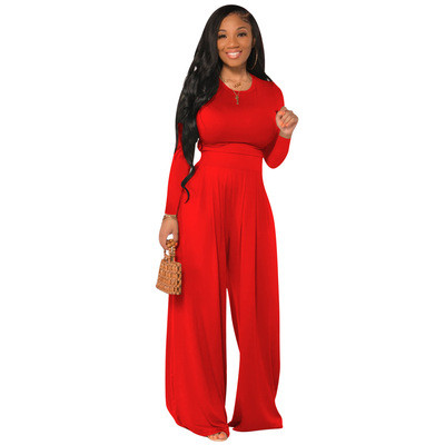 Coffee  Fashion all-match casual wide-leg two-piece suit