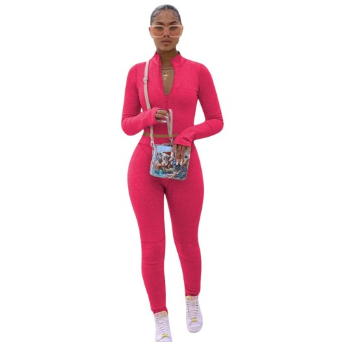 Rose  red  Solid color hoodie fleece long-sleeved multicolor sports two-piece suit