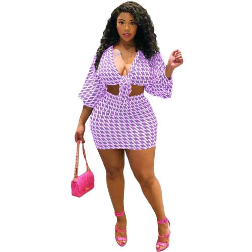Purple Fashion Print Sexy Bowknot Casual Sports Culottes Set