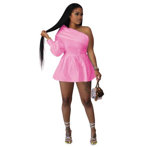 Pink   Solid color one-shoulder off-the-shoulder one-piece shirt dress