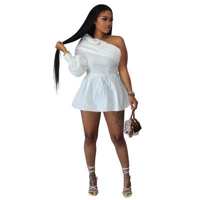 White  Solid color one-shoulder off-the-shoulder one-piece shirt dress