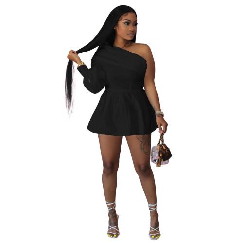 Black   Solid color one-shoulder off-the-shoulder one-piece shirt dress