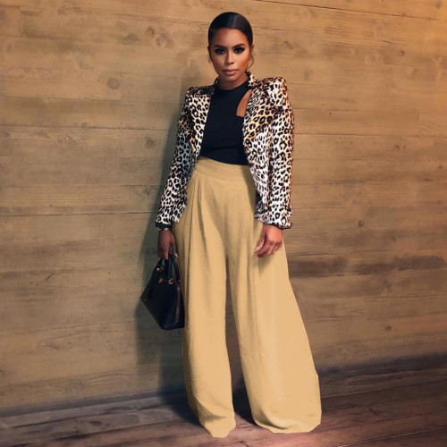 Khaki Loose retro pleated casual pants women's solid color stretch women's culottes