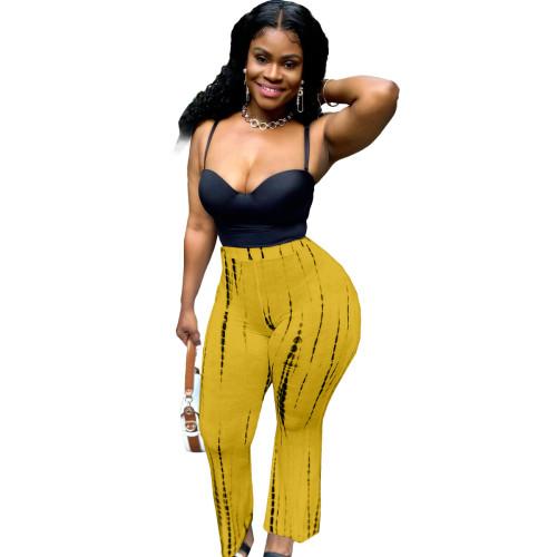 Orange Fashion gradient print casual wide-leg pants