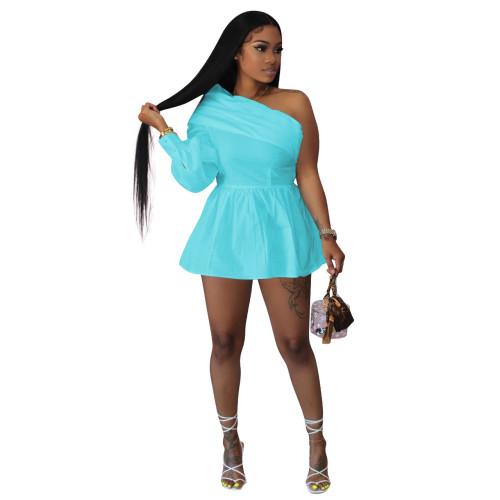 Light  blue   Solid color one-shoulder off-the-shoulder one-piece shirt dress