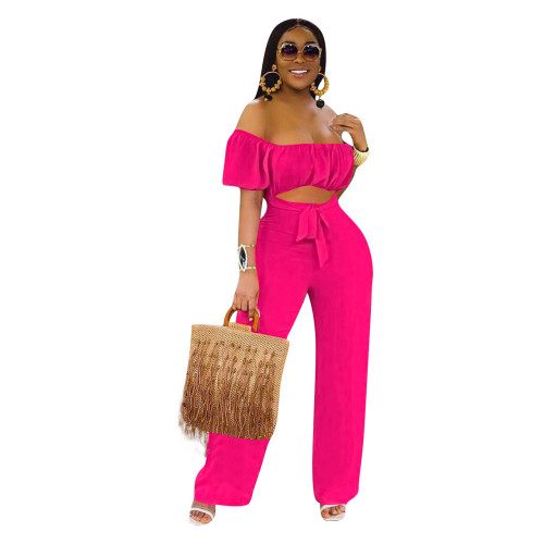 Rose  red  Color open back one-shoulder one-piece casual wide-leg pants