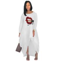 Offset printing lips irregular long skirt dress