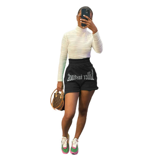 Black Fashion letter embroidery casual sports shorts