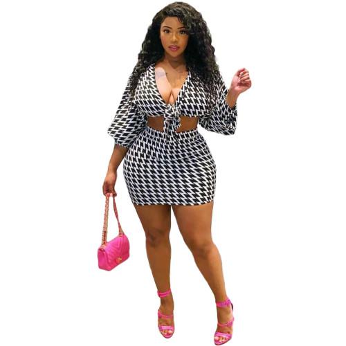 Black Fashion Print Sexy Bowknot Casual Sports Culottes Set