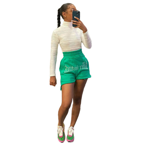 Green Fashion letter embroidery casual sports shorts