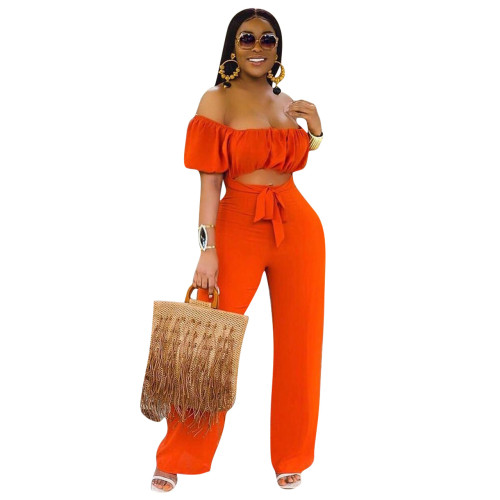 Orange  Color open back one-shoulder one-piece casual wide-leg pants
