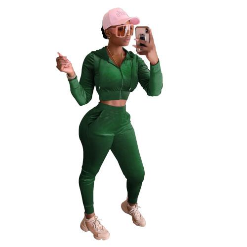 Dark green Women's Korean Fleece Hooded Two-Piece Set