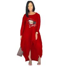 Red Offset printing lips irregular long skirt dress