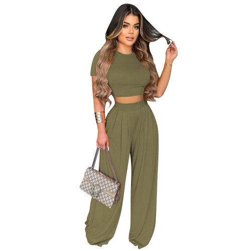 Olive green    Fashion all-match casual wide-leg two-piece suit