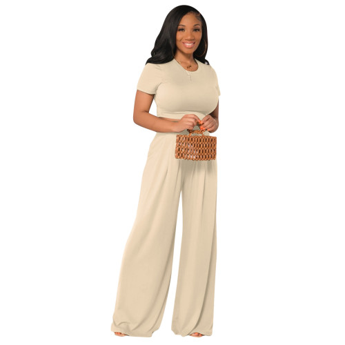 White  Fashion all-match casual wide-leg two-piece suit