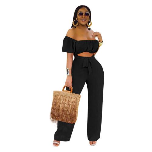 Black   Color open back one-shoulder one-piece casual wide-leg pants