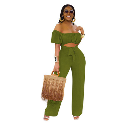 Green  Color open back one-shoulder one-piece casual wide-leg pants