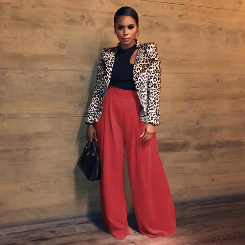 Red Loose retro pleated casual pants women's solid color stretch women's culottes