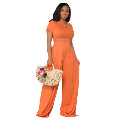 Orange  Fashion all-match casual wide-leg two-piece suit