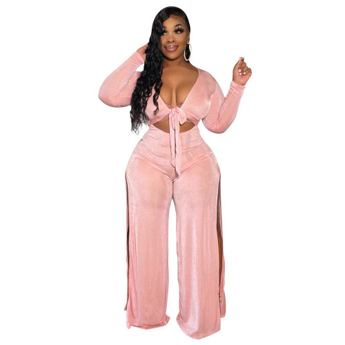 Pink Women's wide-chested lace-up trousers split bodysuit