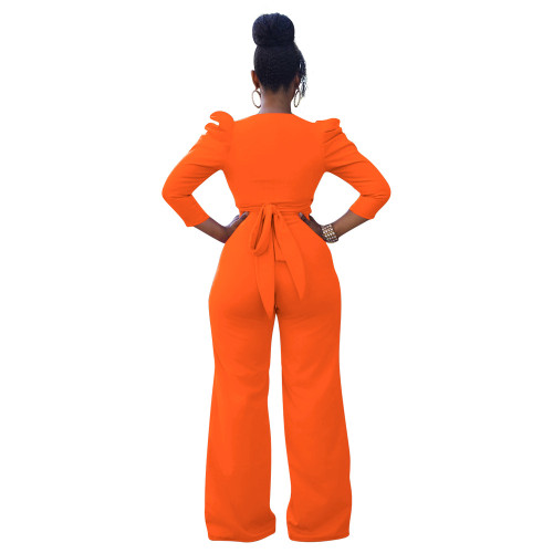 Orange Two-piece set of solid color puff sleeves with hollow front straps