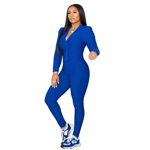 Bule Pure color fish scale yoga cloth tight-fitting two-piece suit