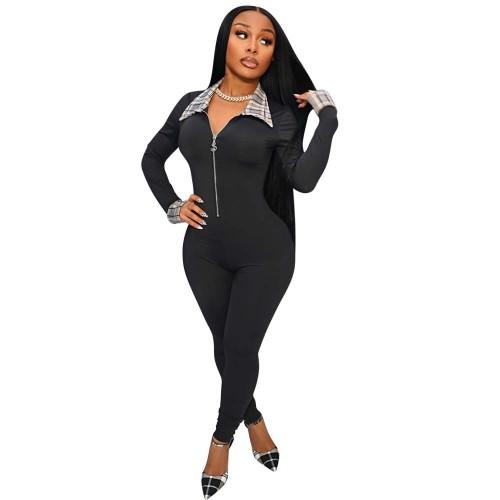 Black Leader plaid print solid color zipper tights