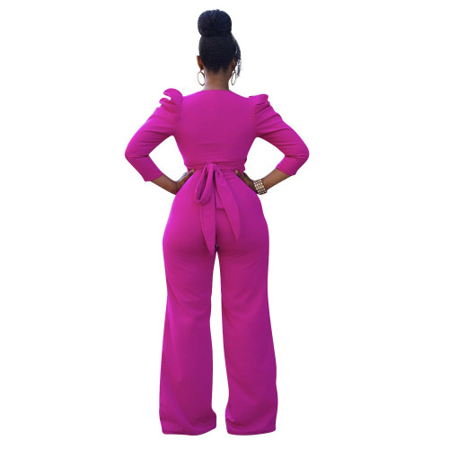Rose red Two-piece set of solid color puff sleeves with hollow front straps