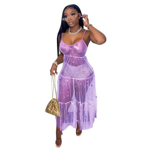 Beige  Strap sequined mesh dress