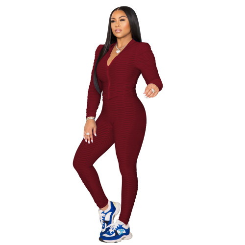 Pure color fish scale yoga cloth tight-fitting two-piece suit