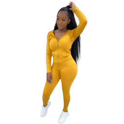 Women's zipper with hat solid color two-piece suit