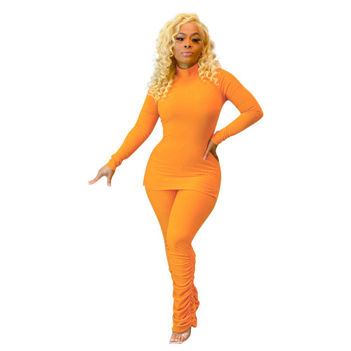 Yellow Women's solid color pit strip calf fold fashion two-piece suit