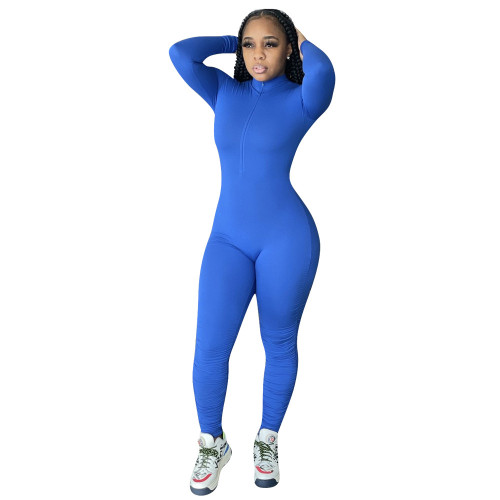 Bule Solid color open chest sexy invisible zipper calf pleated jumpsuit