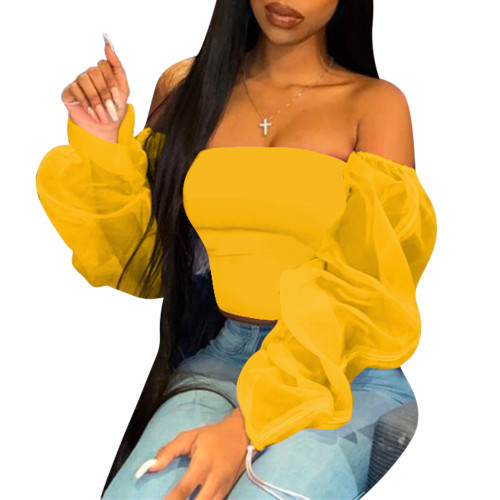 Yellow   Multicolor see-through top women's T-shirt