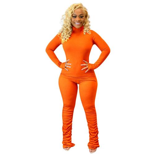 Orange Women's solid color pit strip calf fold fashion two-piece suit