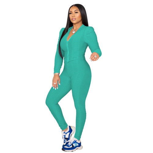 Green Pure color fish scale yoga cloth tight-fitting two-piece suit