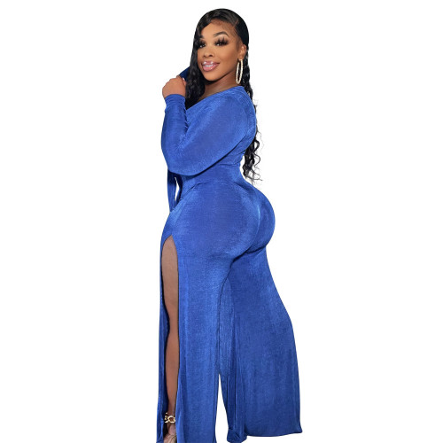 Women's wide-chested lace-up trousers split bodysuit