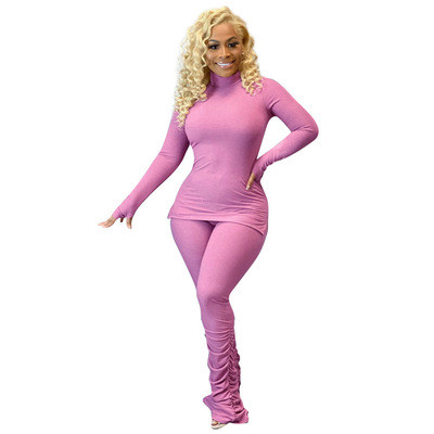 Women's solid color pit strip calf fold fashion two-piece suit