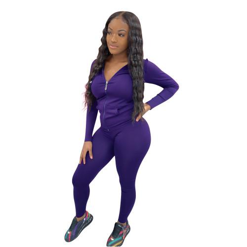 Dark purple Women's zipper with hat solid color two-piece suit