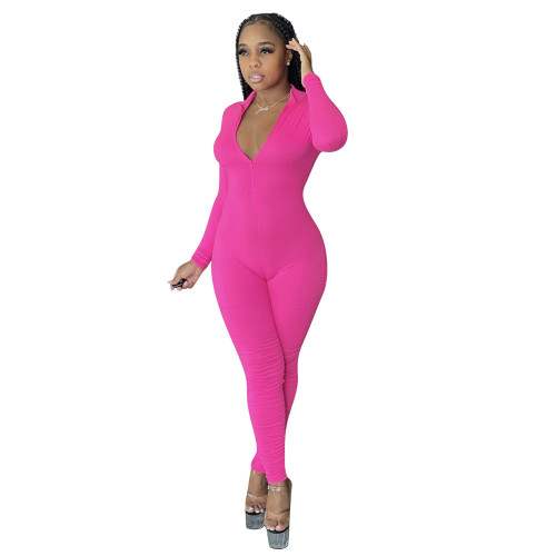 Rose red Solid color open chest sexy invisible zipper calf pleated jumpsuit
