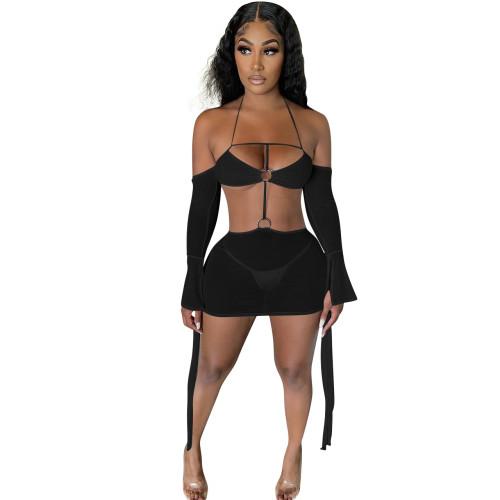 Black    Multicolor sexy suspender halter neck mesh dress