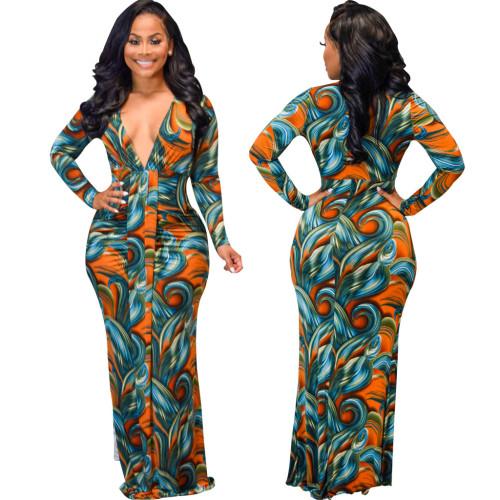 Orange Sexy Fashion Digital Printed Long Sleeve V-neck Ladies Dress
