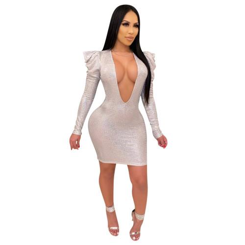 Silver   Skinny deep V sequin cross-border dress