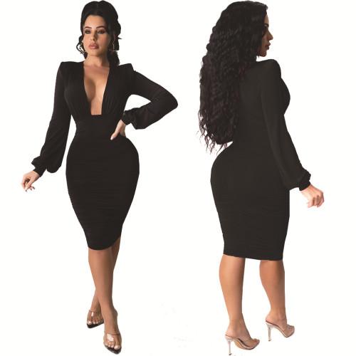 Black Sexy fashion white-collar night ladies V-neck dress