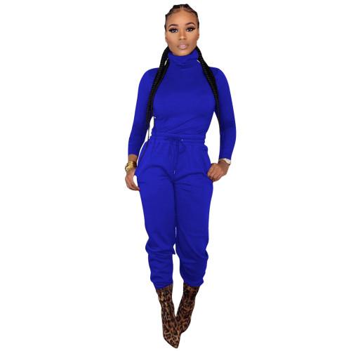 Dark  blue   Two-piece cross-border women's wear with waist tie