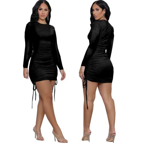 Black Sexy fashion women's stitching dress