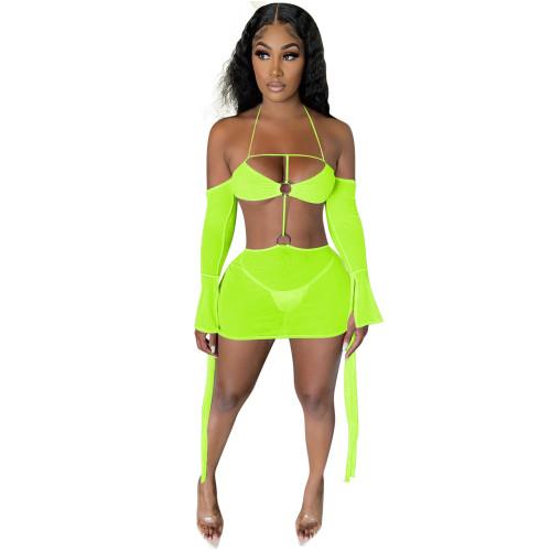 Green    Multicolor sexy suspender halter neck mesh dress