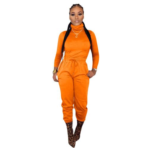Orange   Two-piece cross-border women's wear with waist tie