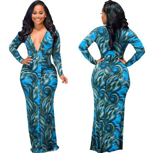 Bule Sexy Fashion Digital Printed Long Sleeve V-neck Ladies Dress
